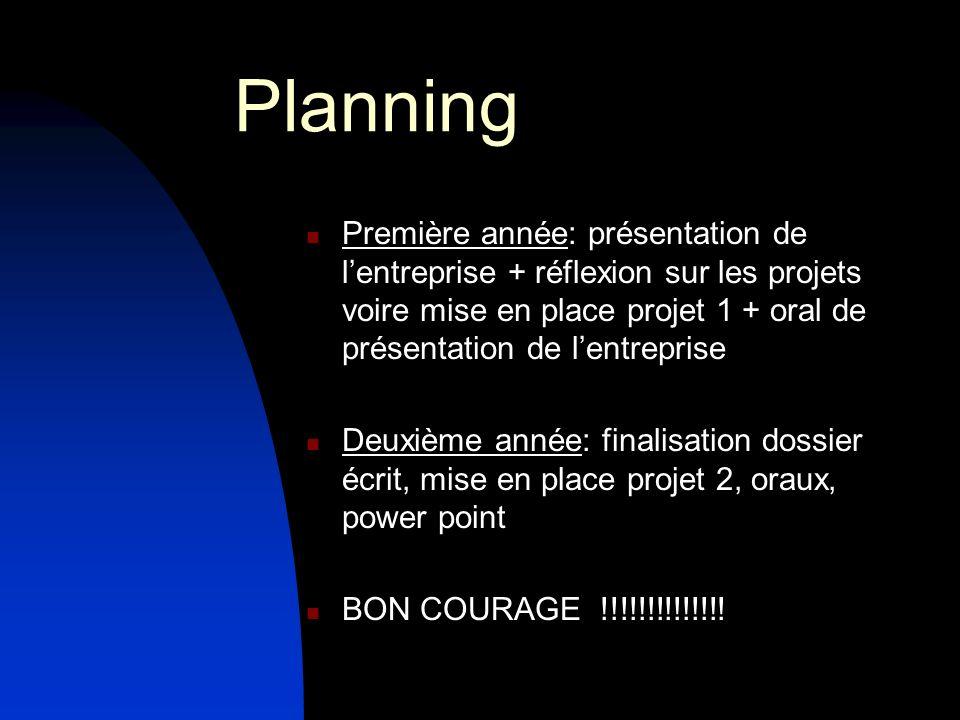 Planning Première année: présentation de l'entreprise + réflexion sur les projets voire mise en place projet 1 + oral de présentation de l'entreprise.