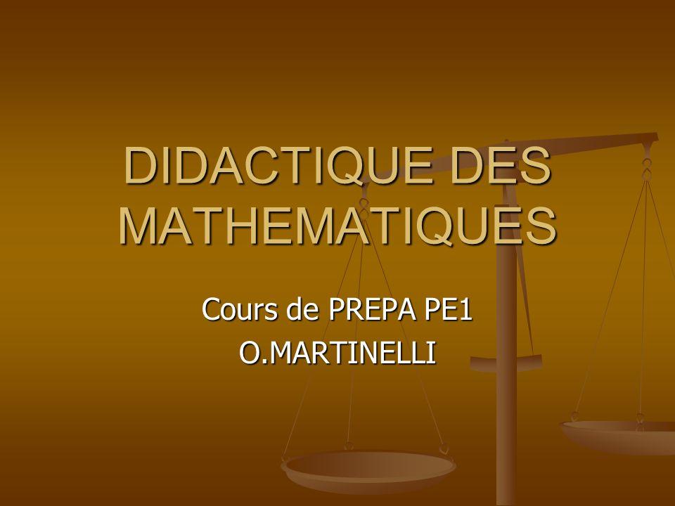 DIDACTIQUE DES MATHEMATIQUES