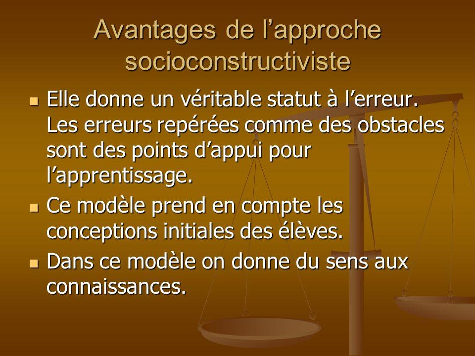 Avantages de l'approche socioconstructiviste