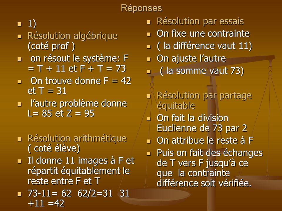 Réponses Résolution par essais. On fixe une contrainte. ( la différence vaut 11) On ajuste l'autre.