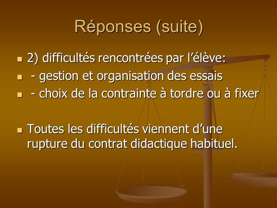 Réponses (suite) 2) difficultés rencontrées par l'élève: