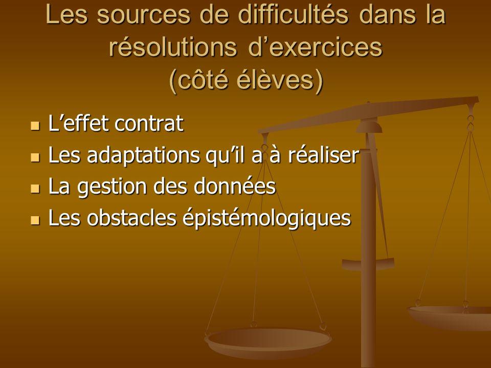 Les sources de difficultés dans la résolutions d'exercices (côté élèves)