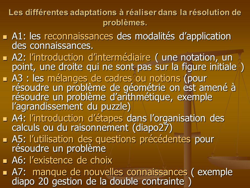 A1: les reconnaissances des modalités d'application des connaissances.