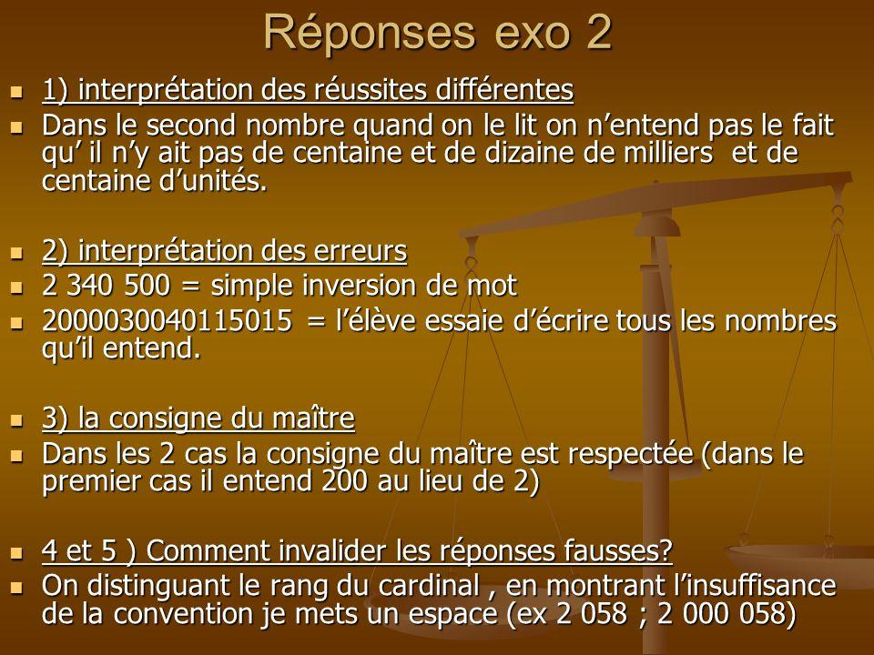 Réponses exo 2 1) interprétation des réussites différentes