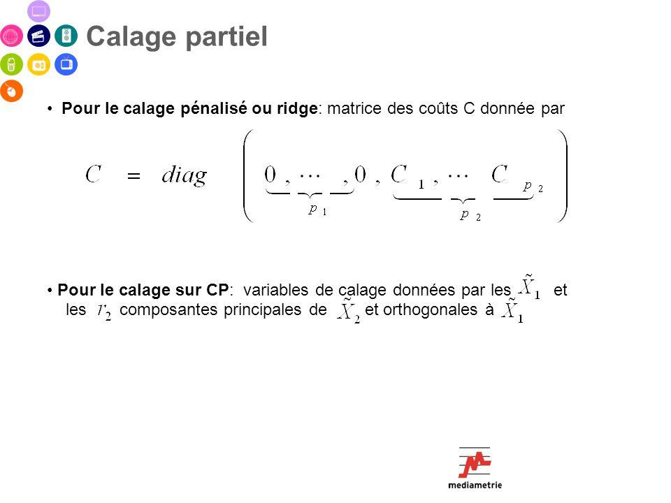 Calage partiel Pour le calage pénalisé ou ridge: matrice des coûts C donnée par.