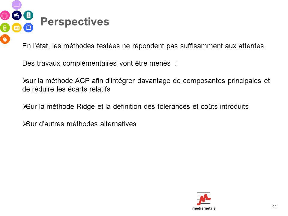 Perspectives En l'état, les méthodes testées ne répondent pas suffisamment aux attentes. Des travaux complémentaires vont être menés :