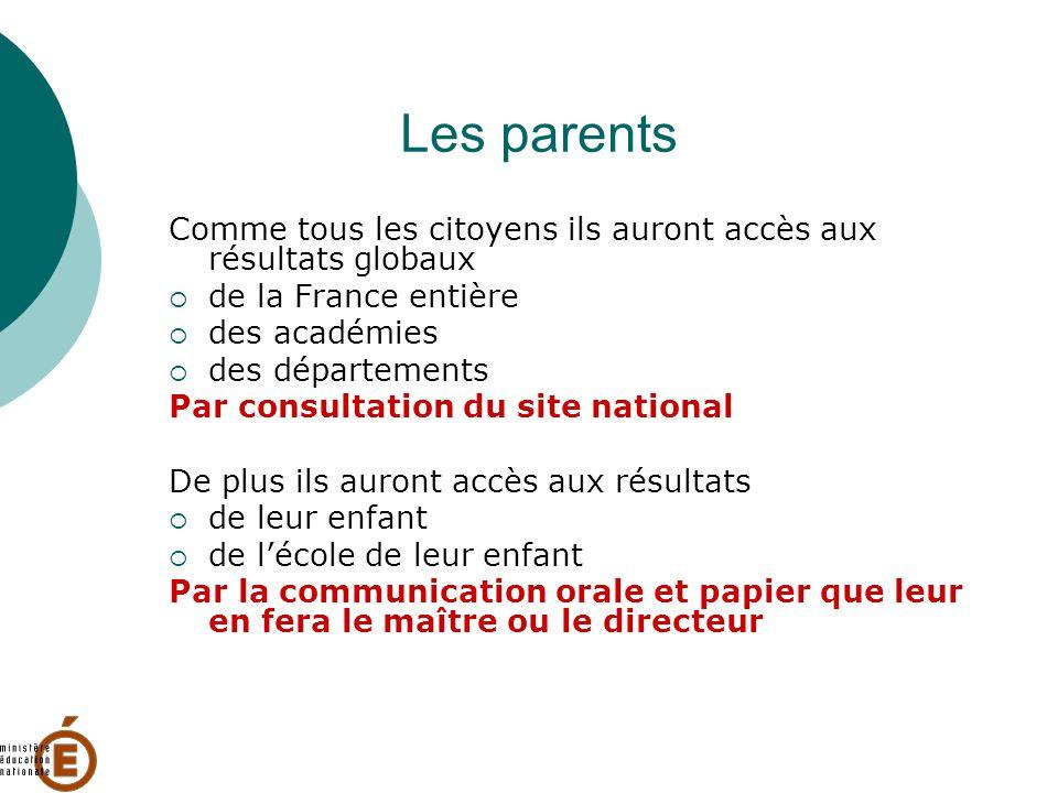 Les parentsComme tous les citoyens ils auront accès aux résultats globaux. de la France entière. des académies.