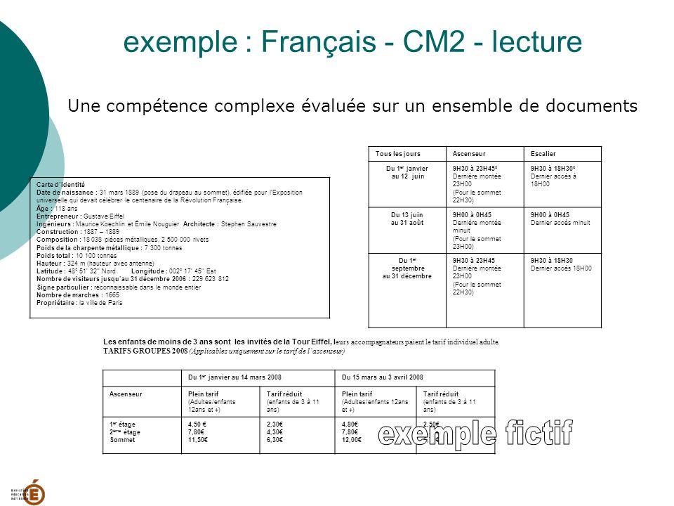 exemple : Français - CM2 - lecture Une compétence complexe évaluée sur un ensemble de documents