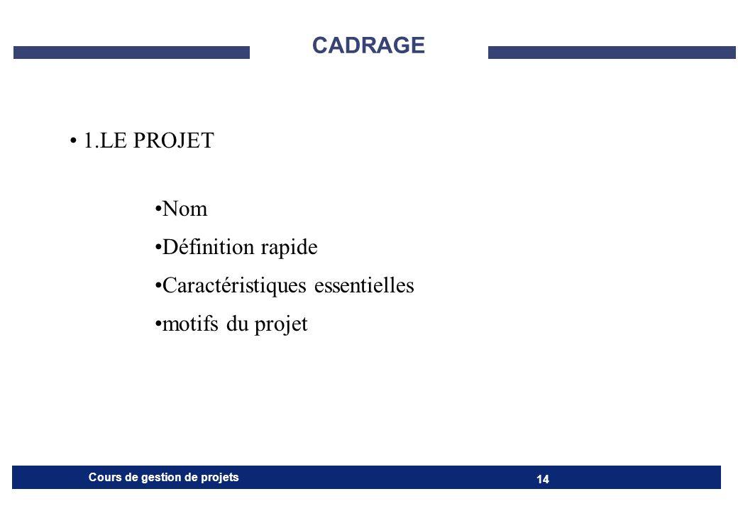 CADRAGE 1.LE PROJET Nom Définition rapide Caractéristiques essentielles motifs du projet
