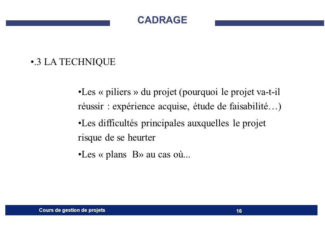 CADRAGE .3 LA TECHNIQUE. Les « piliers » du projet (pourquoi le projet va-t-il réussir : expérience acquise, étude de faisabilité…)