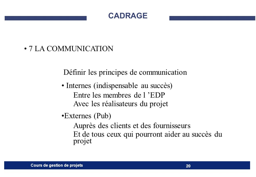 CADRAGE7 LA COMMUNICATION. Définir les principes de communication. Internes (indispensable au succès)