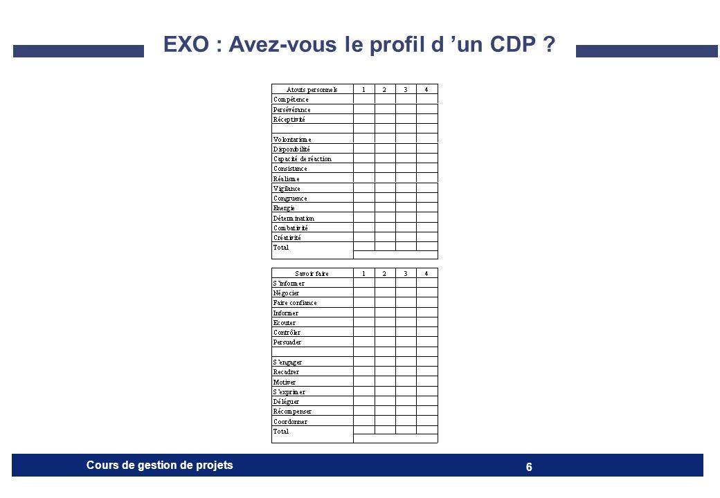 EXO : Avez-vous le profil d 'un CDP