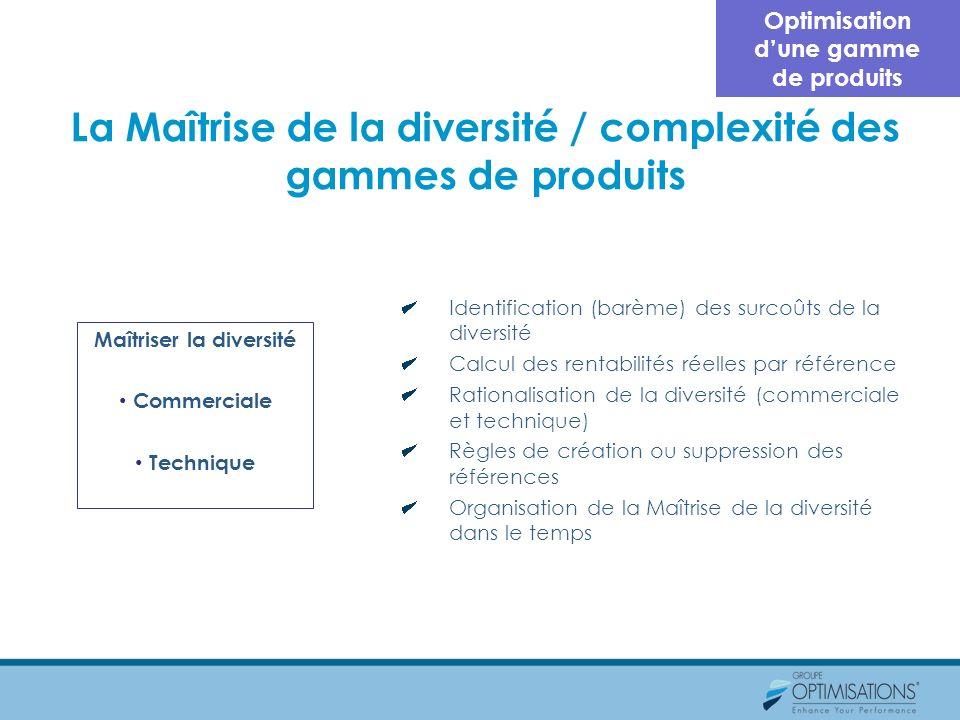 La Maîtrise de la diversité / complexité des gammes de produits