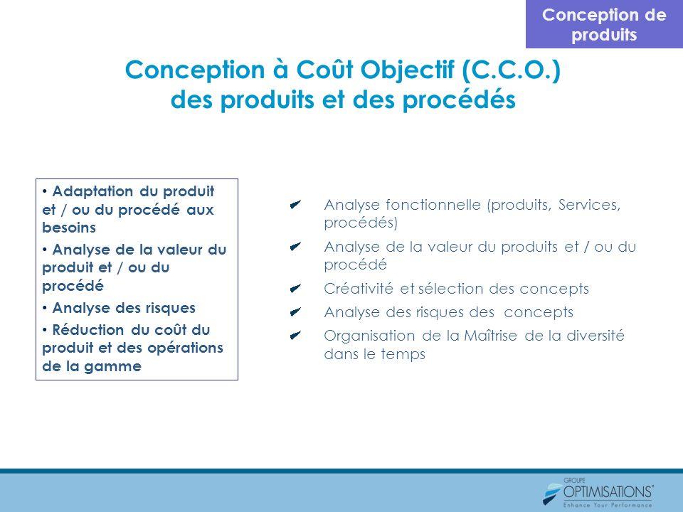 Conception à Coût Objectif (C.C.O.) des produits et des procédés