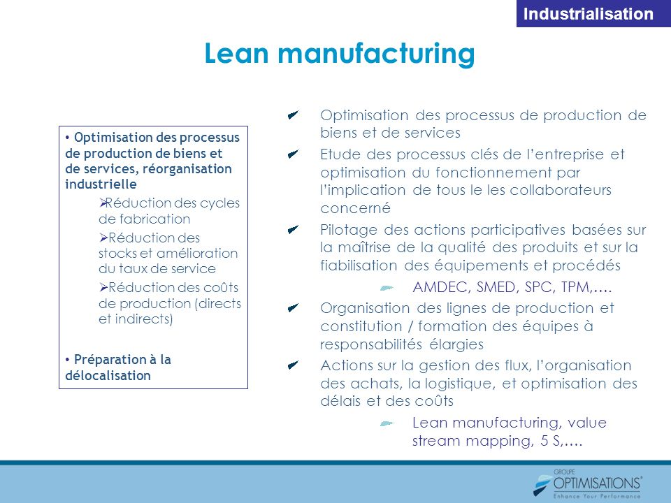 Lean manufacturing Industrialisation
