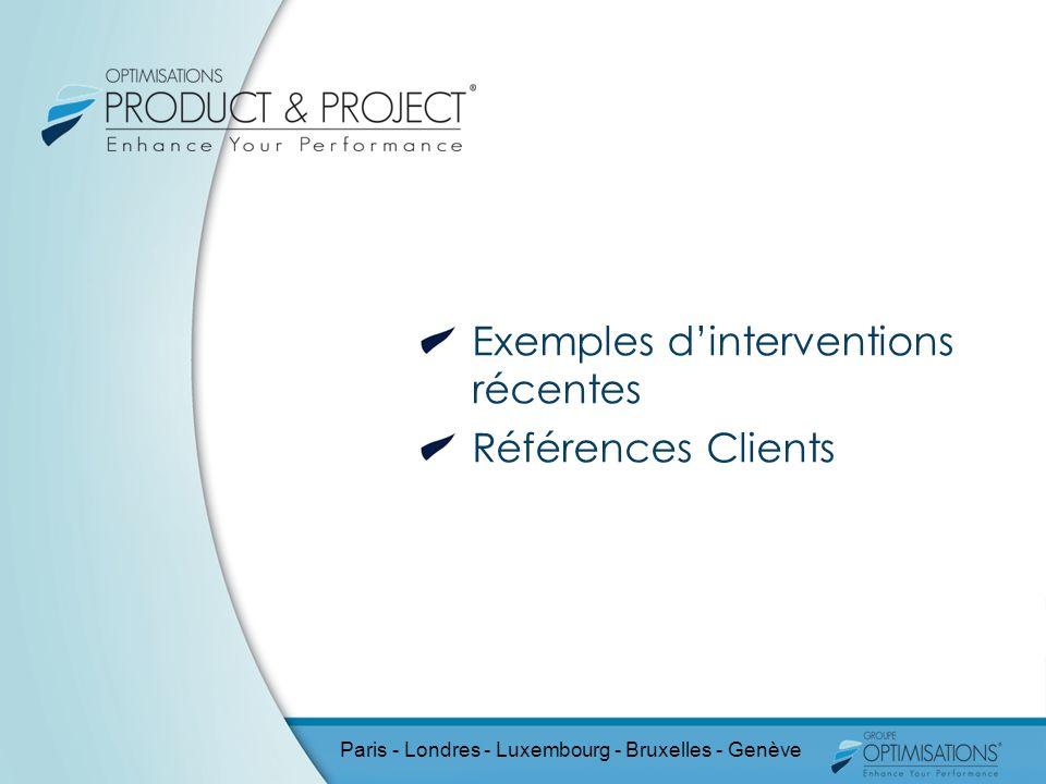 Exemples d'interventions récentes Références Clients