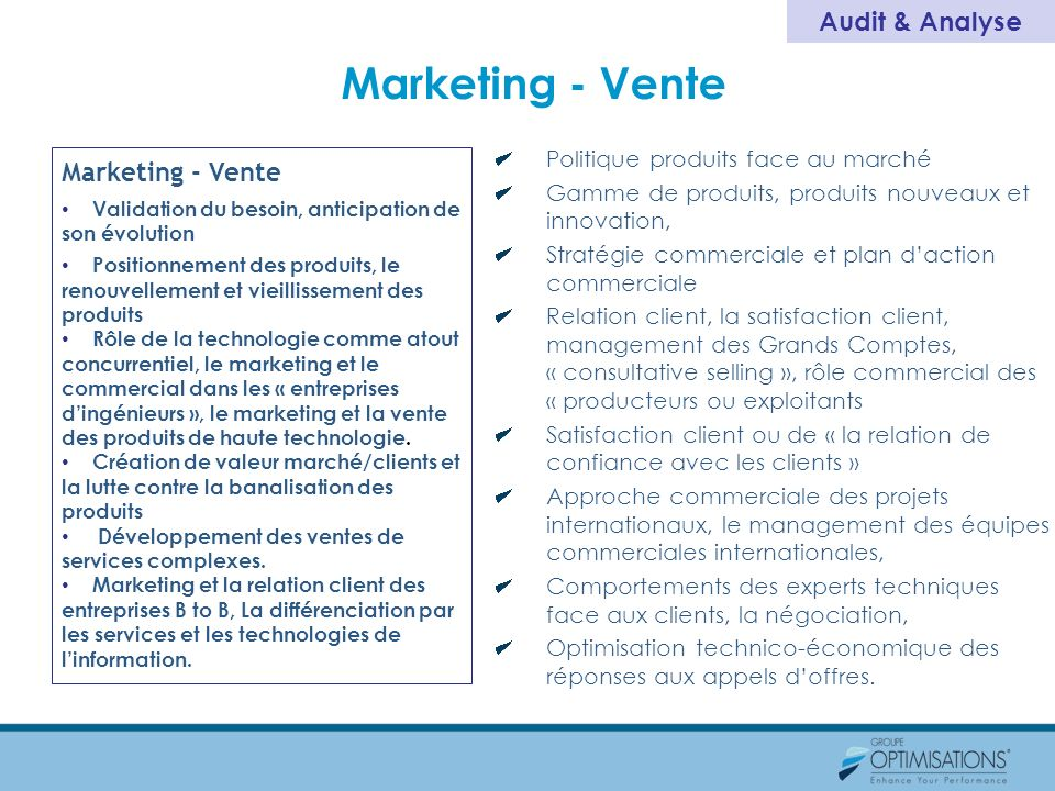 Marketing - Vente Audit & Analyse Marketing - Vente