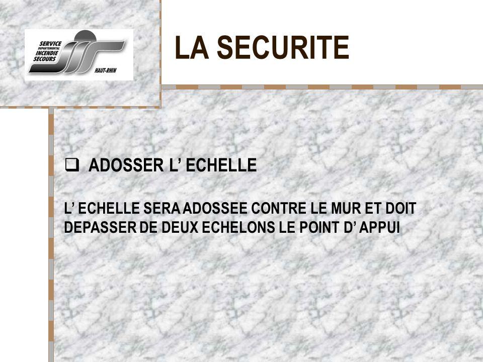 LA SECURITE ADOSSER L' ECHELLE Votre logo ici