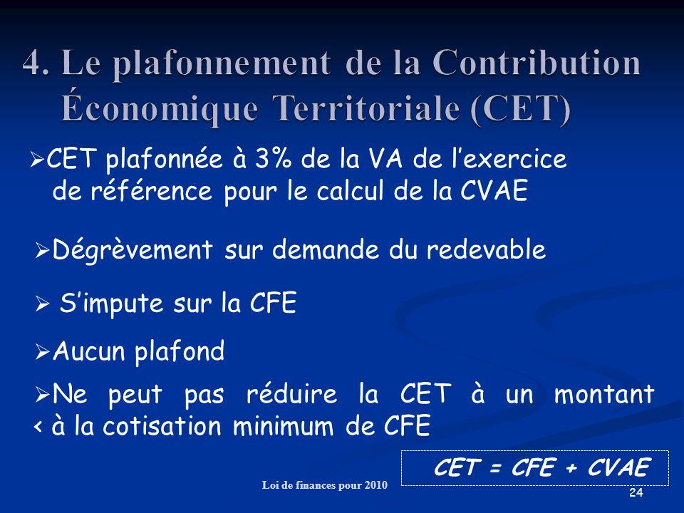 4. Le plafonnement de la Contribution Économique Territoriale (CET)