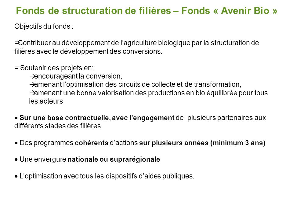 Fonds de structuration de filières – Fonds « Avenir Bio »