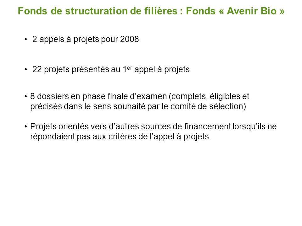 Fonds de structuration de filières : Fonds « Avenir Bio »