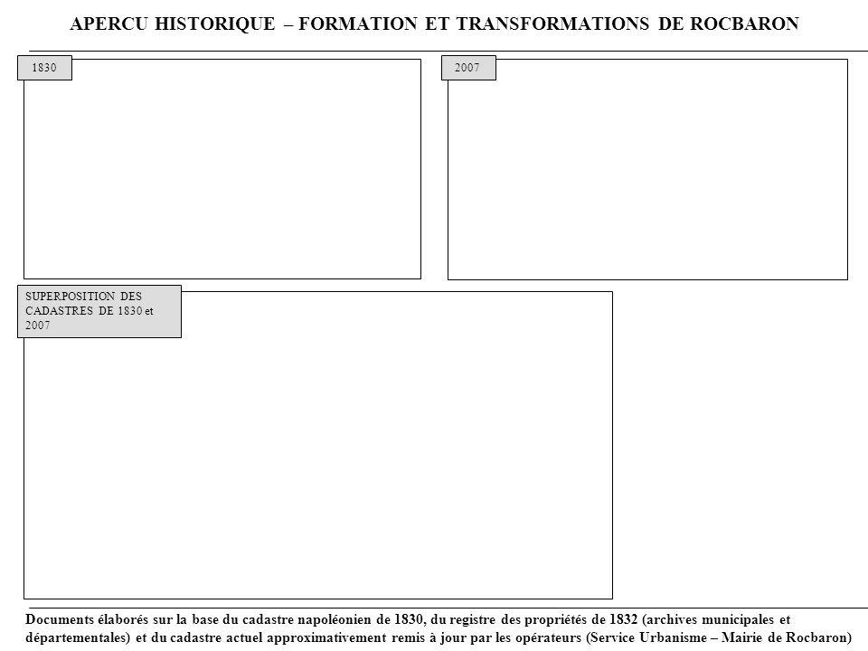 APERCU HISTORIQUE – FORMATION ET TRANSFORMATIONS DE ROCBARON
