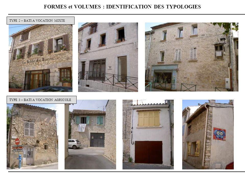 FORMES et VOLUMES : IDENTIFICATION DES TYPOLOGIES
