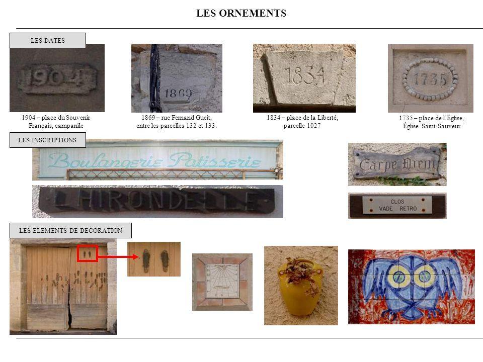 LES ORNEMENTS LES DATES 1904 – place du Souvenir Français, campanile