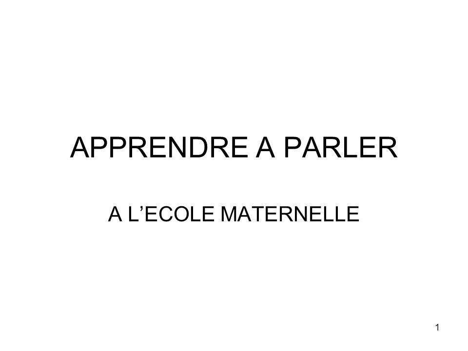 APPRENDRE A PARLER A L'ECOLE MATERNELLE