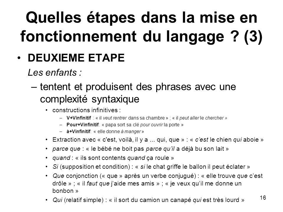 Quelles étapes dans la mise en fonctionnement du langage (3)