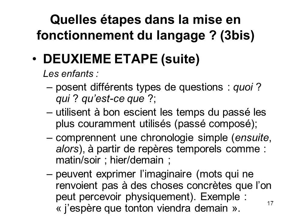 Quelles étapes dans la mise en fonctionnement du langage (3bis)
