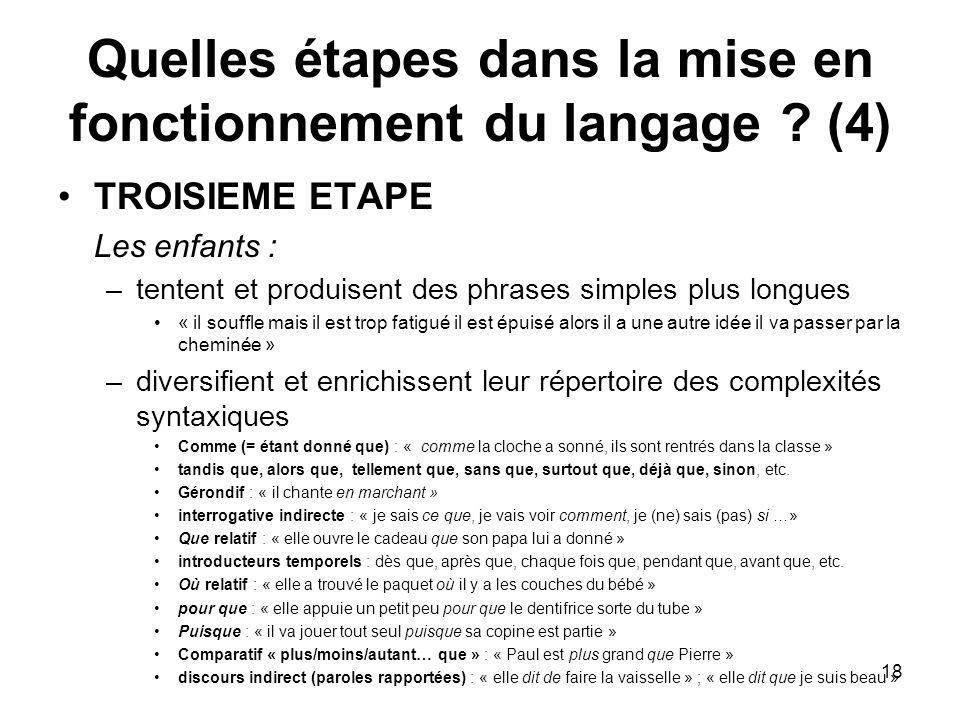 Quelles étapes dans la mise en fonctionnement du langage (4)