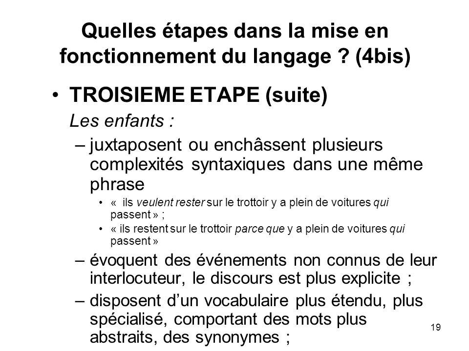 Quelles étapes dans la mise en fonctionnement du langage (4bis)
