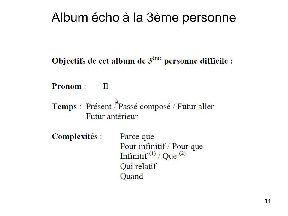 Album écho à la 3ème personne