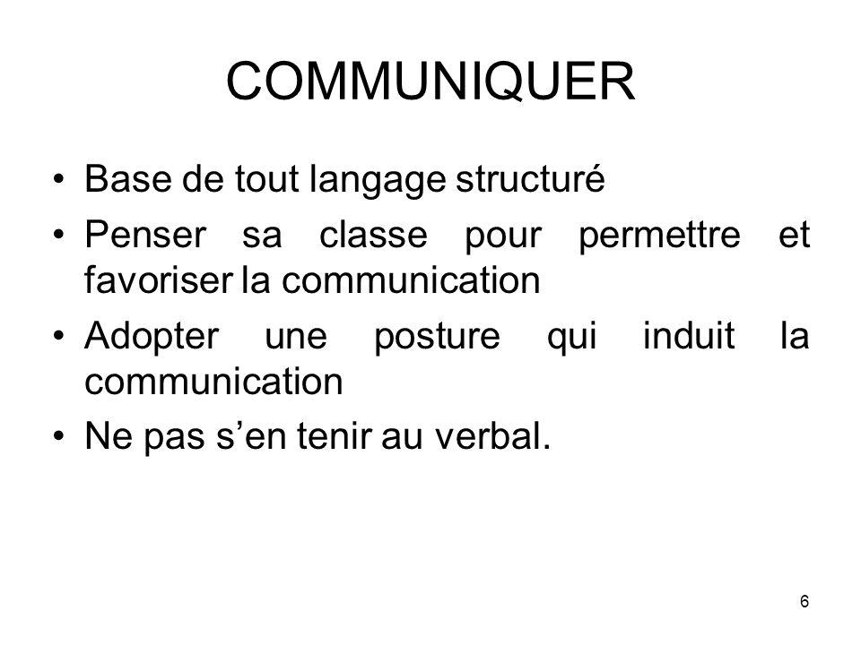 COMMUNIQUER Base de tout langage structuré