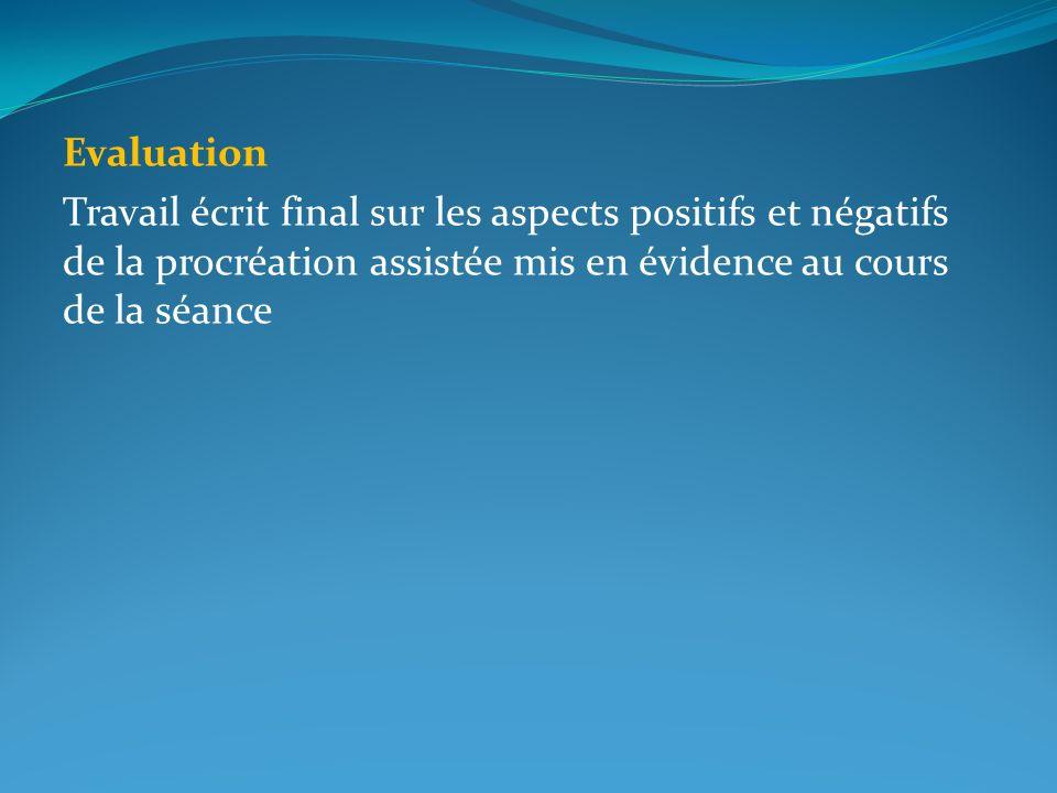 Evaluation Travail écrit final sur les aspects positifs et négatifs de la procréation assistée mis en évidence au cours de la séance.