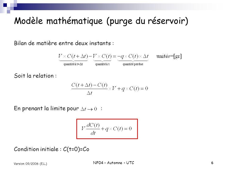 Modèle mathématique (purge du réservoir)