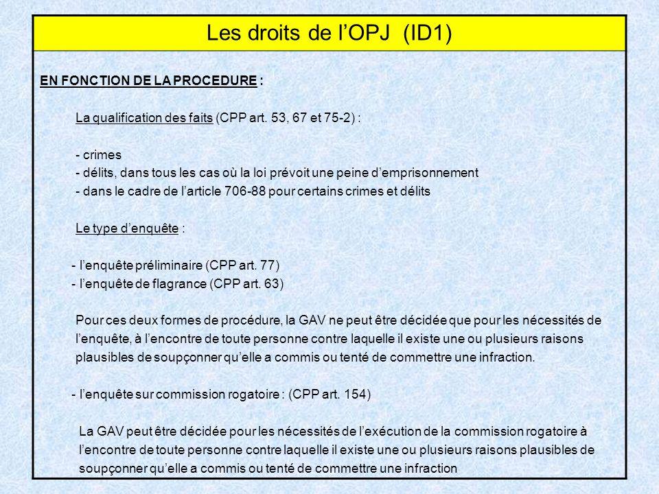 Les droits de l'OPJ (ID1)