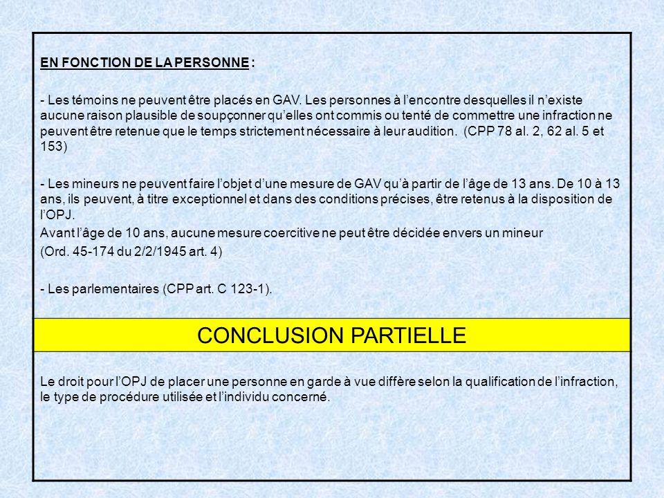 CONCLUSION PARTIELLE EN FONCTION DE LA PERSONNE :