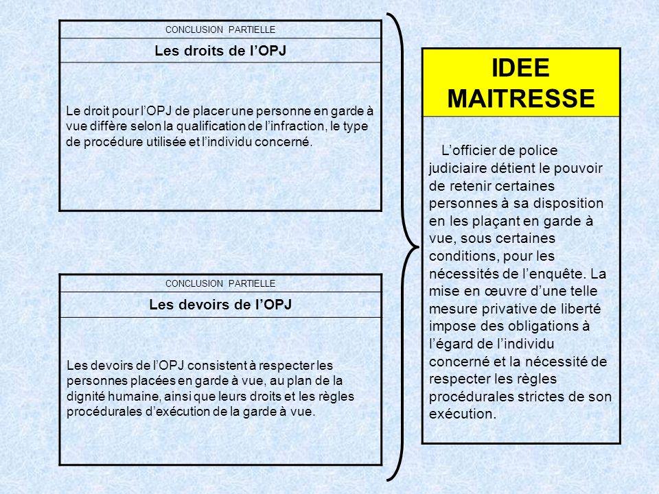 IDEE MAITRESSE Les droits de l'OPJ