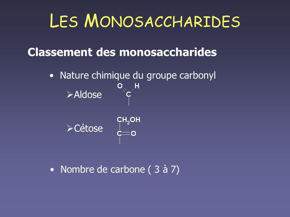 LES MONOSACCHARIDES Classement des monosaccharides