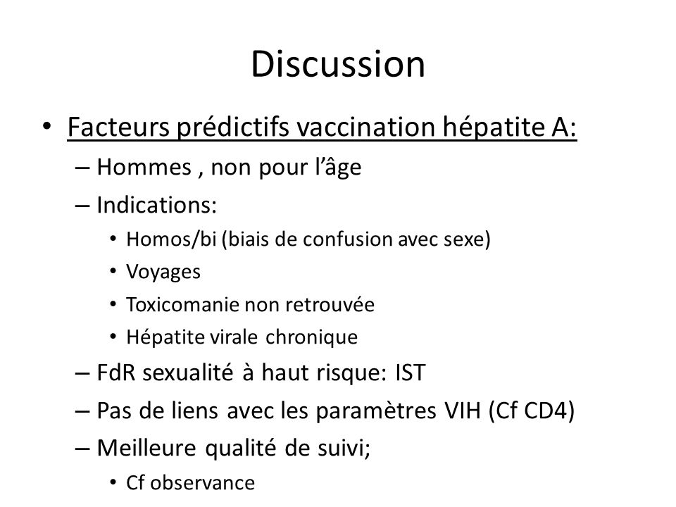 Discussion Facteurs prédictifs vaccination hépatite A: