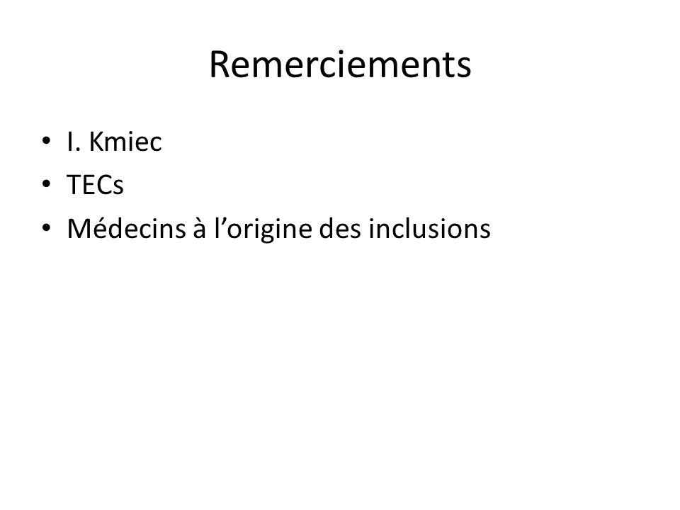 Remerciements I. Kmiec TECs Médecins à l'origine des inclusions