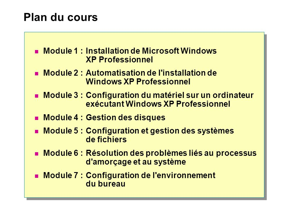 Plan du cours Module 1 : Installation de Microsoft Windows XP Professionnel