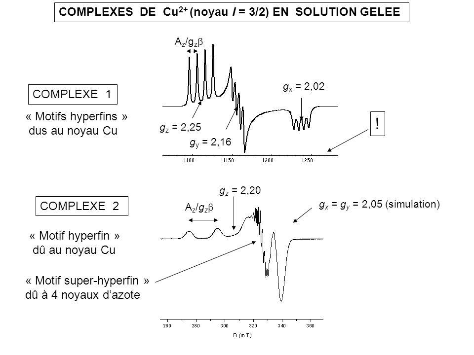 ! COMPLEXES DE Cu2+ (noyau I = 3/2) EN SOLUTION GELEE COMPLEXE 1