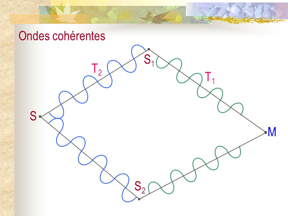 M T1 S T2 S2 S1 Ondes cohérentes