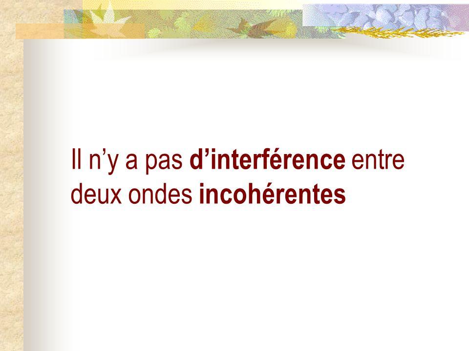 Il n'y a pas d'interférence entre deux ondes incohérentes