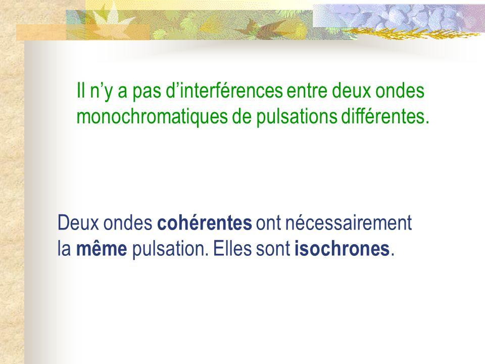 Il n'y a pas d'interférences entre deux ondes monochromatiques de pulsations différentes.