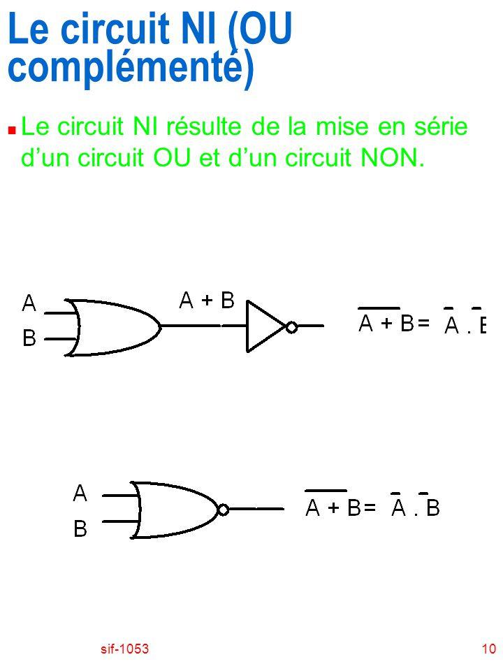 Le circuit NI (OU complémenté)