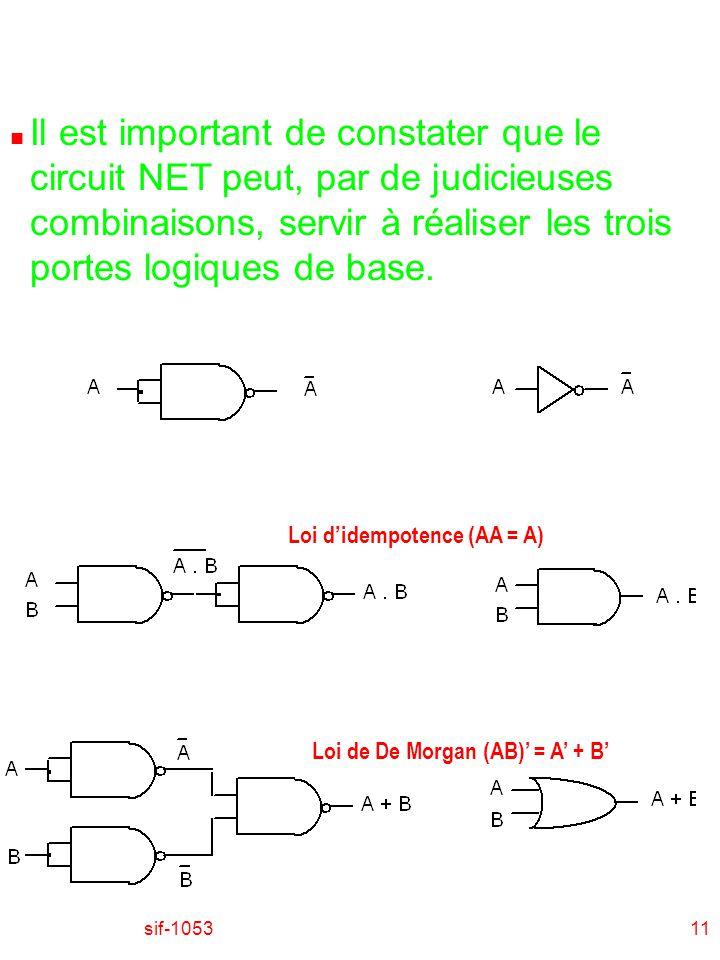 Il est important de constater que le circuit NET peut, par de judicieuses combinaisons, servir à réaliser les trois portes logiques de base.